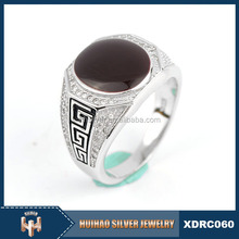 High quality latest 925 silver arab men ring with black stone
