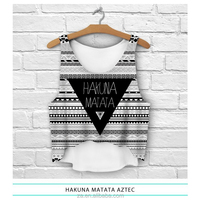 Wholesale high fashion aztec bright color black and white color printed women aztec tank top of free sizes