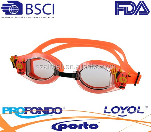 silicone cartoon swimming goggle for kids