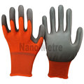 NMSAFETY 13 gauge knitted orange polyester liner coated grey pu on palm gloves for light industry
