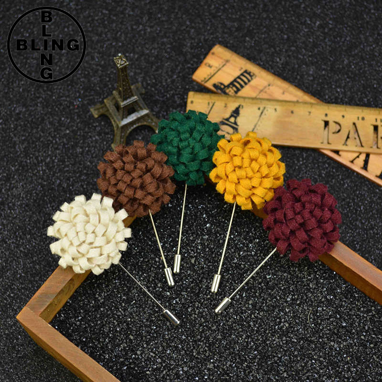 >>>Fashion Mens Handmade Brooches Pins Upscale Wool Fabric Insert Long Lapel Pin Flower Wedding Brooch Bouquet for Men/