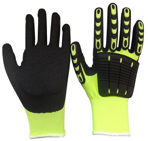 Wholesale 13G polyester/cotton knitted back with with TPR sandy finished nitile coated mechanic gloves