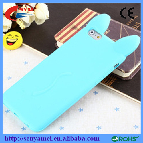mobile phone silicone Case cover with cat ear for iPhone 6 Plus case,phone accessories factory