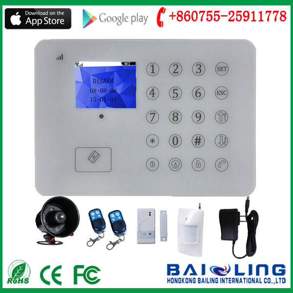 No monthly fee self-monitoring GSM Alarm system wireless TFT and Touch Keypad GSM Alarm system Free iOS and Android APP BL-E99