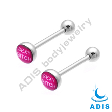 High polished surgical stainless steel tongue barbell with expoxied words logo