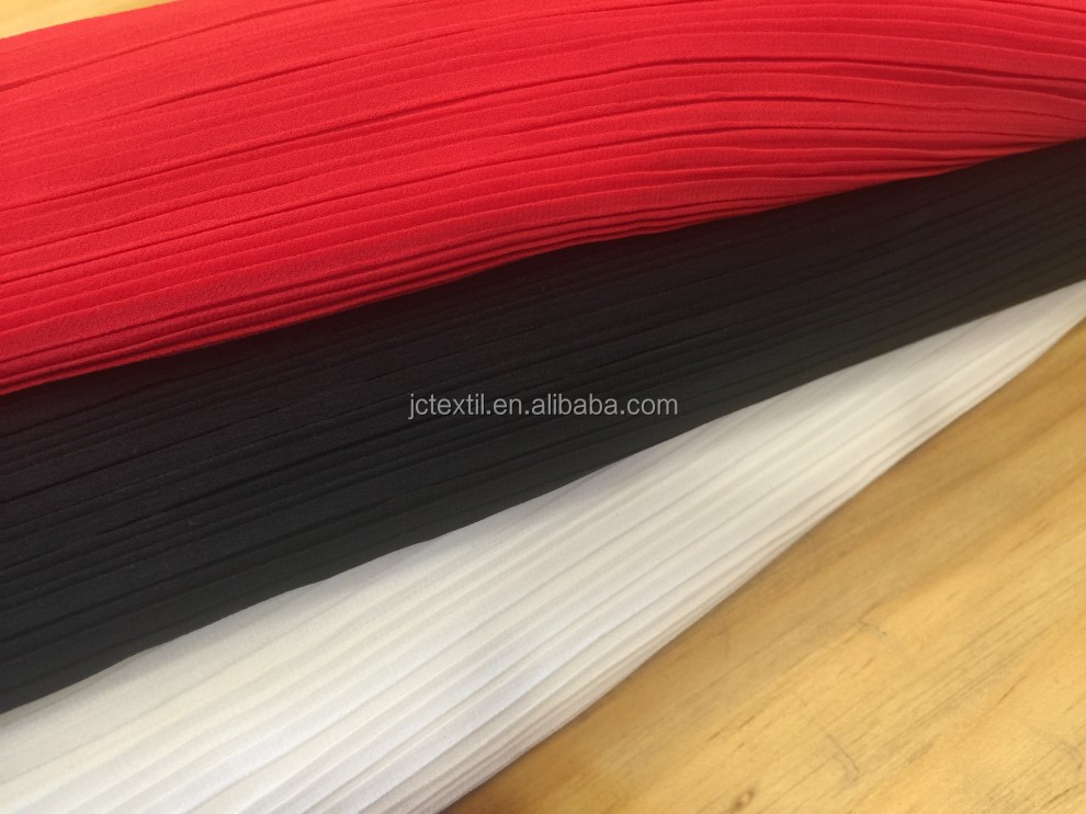 100% polyester pleated chiffon fabric price per meter for dress