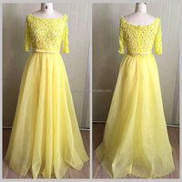 Birthday party dress yellow flower princes evening babe party dress porm for children with belt