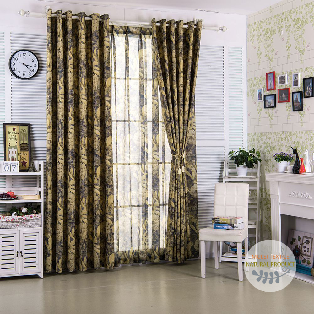 European style elegant polyester floral printed living room curtains and drapes