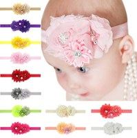 Baby girls Headbands with pearl rhinstone button flower hair accessories infant rose flower hairbands headwear