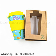 Eco-friendly Reusable Bamboo Fiber Coffee Cup with Silicone Lid and Sleeve