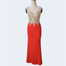 New design Red jersey long beaded wedding dress bridal gown wholesale evening prom dresses made in china