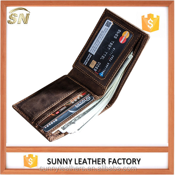 Men's genuine vintage slim handmade leather wallet