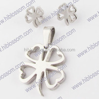 wholesale stainless steel pendant and earring women jewelry set