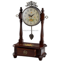 Home Interiors Decor Antique Wooden Gift Clock Design Desktop Clock