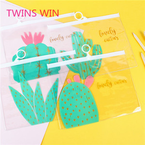 2018 the most popular plastic bags imported from china cartoon prickly pear expanding file folder A5 PVC travel document holder