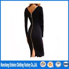 Little Black Long Sleeve Party Dresses Women Clothing Back Full Zipper Robe Sexy Femme Pencil Tight Dress