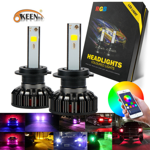 KEEN DC12-30V 40w led color changing headlights h7 4000lm car front light with bluetooth control