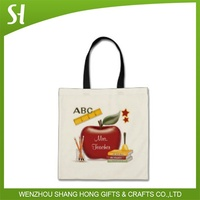Best selling high quality china wholesale summer cotton canvas hand bag custom logo apple for school promotion gifts