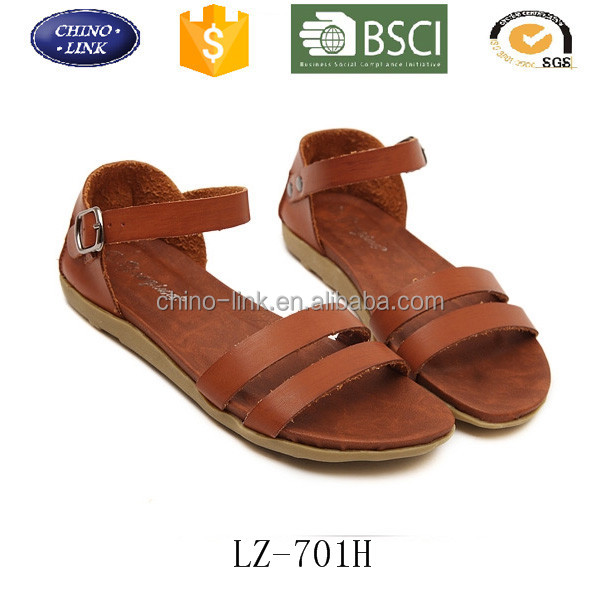 2016 sepatu sandal baru women flat leather fancy sandal shoe