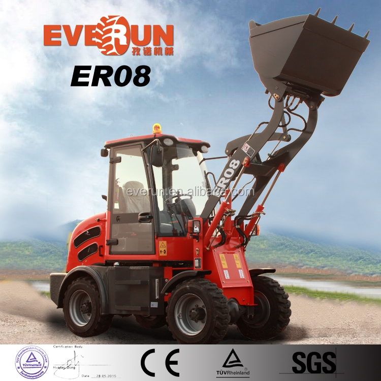Everun New Farm Equipment 800KG Mini Wheel Loader With hydrulic Snow Blade