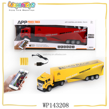 above 8 yearls old playing app control model truck plastic rc container truck with light