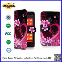 Floral Design PU Leather Wallet Case Cover For Nokia Lumia 520 Accessories Made In China Factory--Laudtec