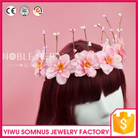 1105E New designs costume jewelry pink color crown flower handmade crown