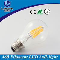 AC230V clear cover 6w E27 dimmable led filament A60 led edison style light bulb