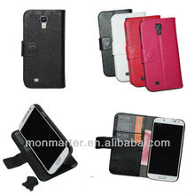 Luxury Genuine Leather Wallet Case for Samsung Galaxy S4 I9500 with Stand + Card Holders