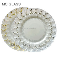 Wholesale Wedding and Restaurant Dinner Gold Silver Leaf Glass Charger Plates