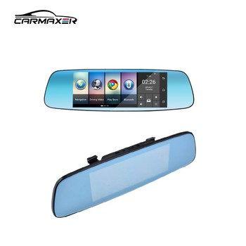 Android system Wifi dvr hd 1080p dual camera car dvr sim card mirror