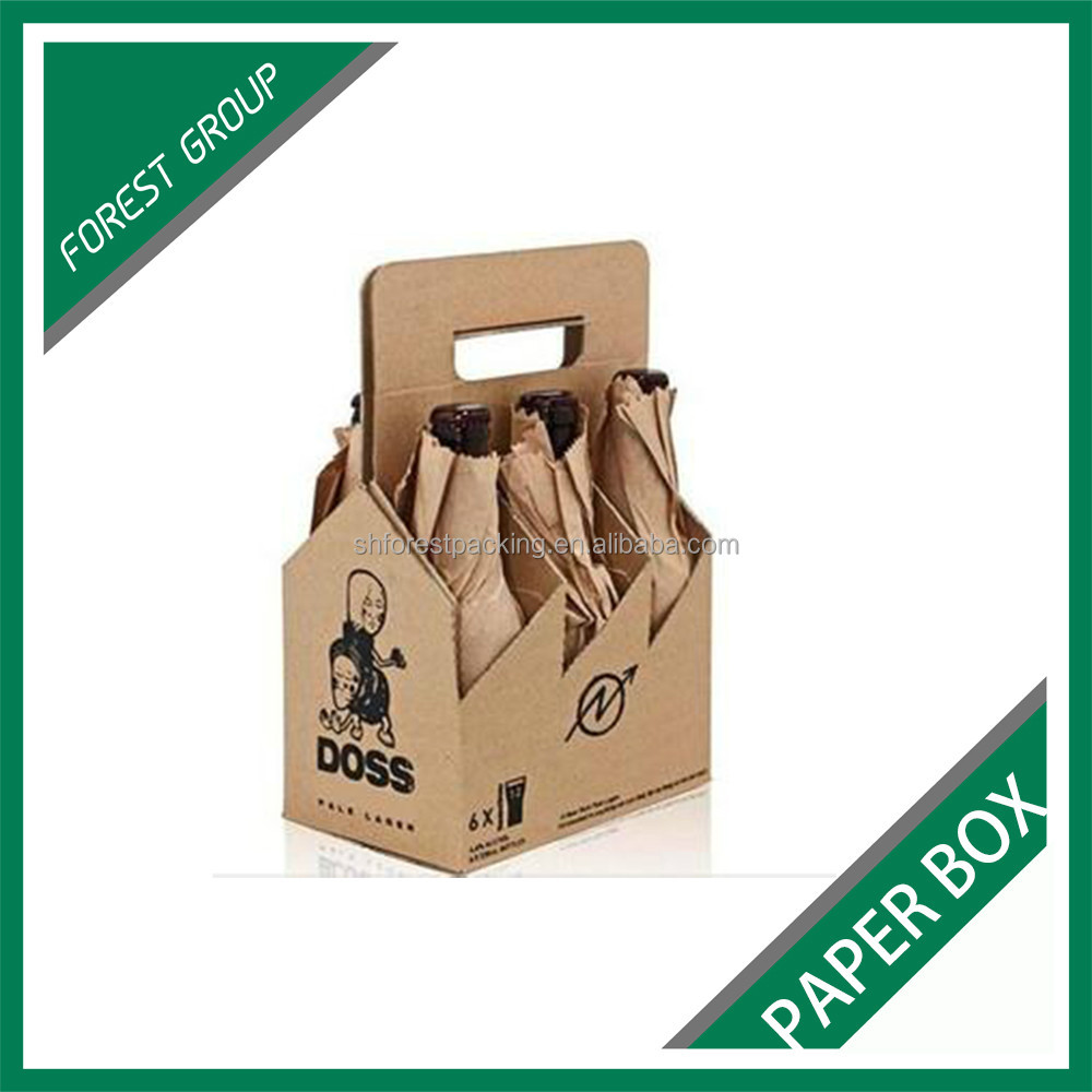 CUSTOM MADE LOGO PRITING SIX PACK HOLDERS FOR WINE KRAFT PAPER BOARD SIX PACK CARRIER FOR BEVERAGE MADE IN CHINA