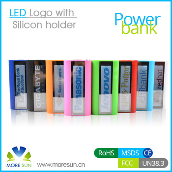 Newest LED LOGO Silicon holder portable power bank