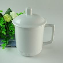 Wholesale Stock Cheap White ceramic coffee mug with lid