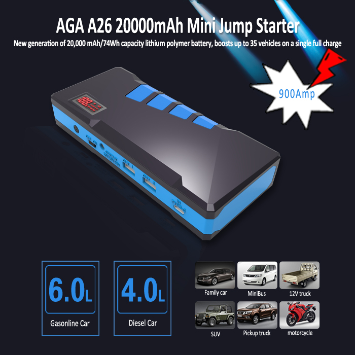 12V car jump starter 900Amps emergency tools for car 20000mAh car power bank