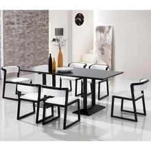 Luxury wholesale modern wood restaurant furniture all wood long dining table in black finish
