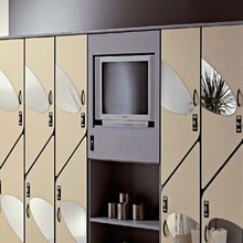 modern gym locker room anti-rusty solid phenolic compact laminate bench and storage lockers