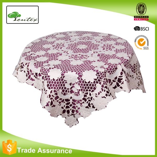 everyday use white color embroidered table cloth