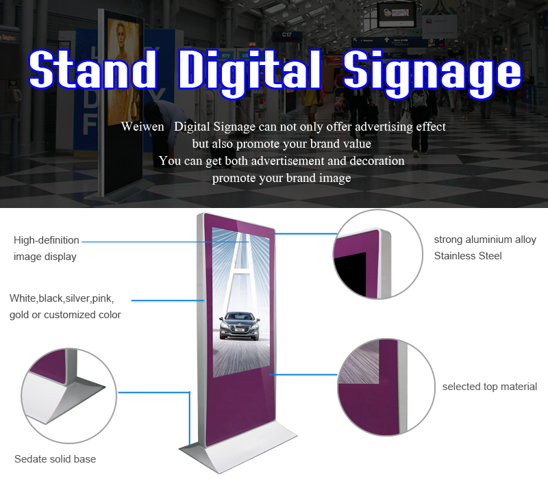 49 inch standalone scrolling billboard lcd display system standing digital advertising panel