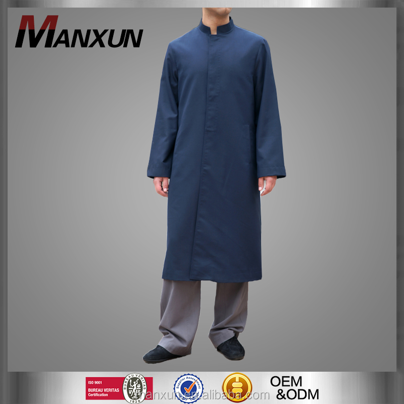 Muslim Cool Stand Collar Mens Coat Abaya With Two Pocket