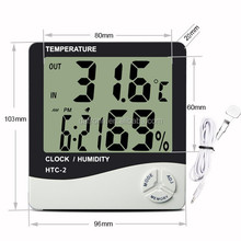 Digital thermometer humidity indoor outdoor hygrometer with clock 2 meter cable length
