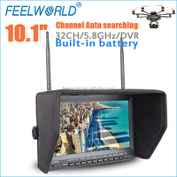 FEELWORLD 10.1 inch 1024x600 professional dvr battery fpv lcd monitor dji phantom vision 2 with 32 channel 5.8ghz receiver