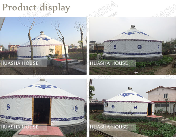 Outdoor steel frame dome yurt tent with glass door and floor