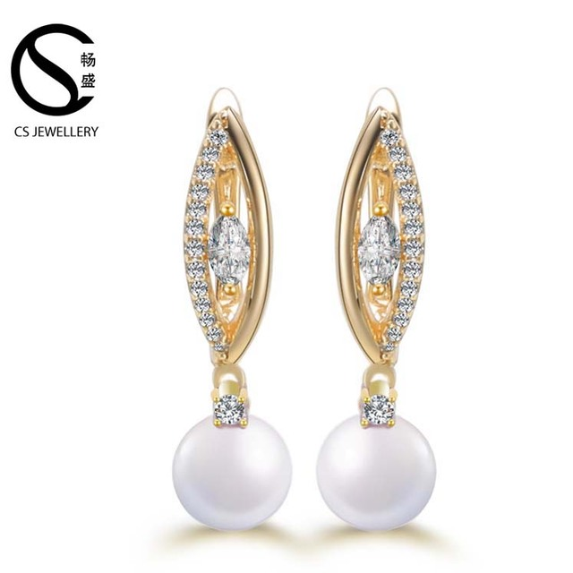 New top designs luxury gold wedding earring hanging freshwater pearl earrings
