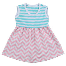 Kaiyo Hot Sale Baby Clothes Blue Stripe and Pink Chevron Children's Clothing Baby Girls Boutique Dress Sleeveless