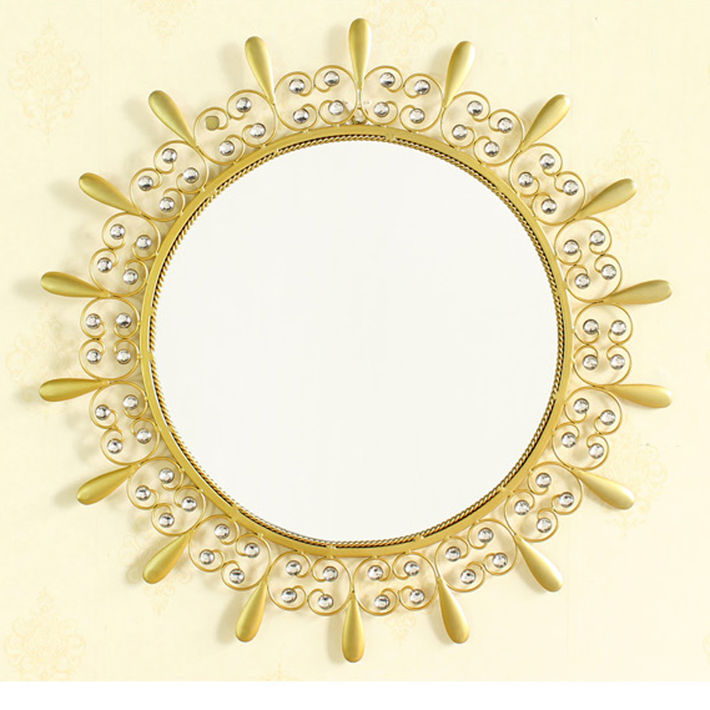 Gold Metal Mirror with Diamonds Round Shaped Wall Mirror Decorative for Home