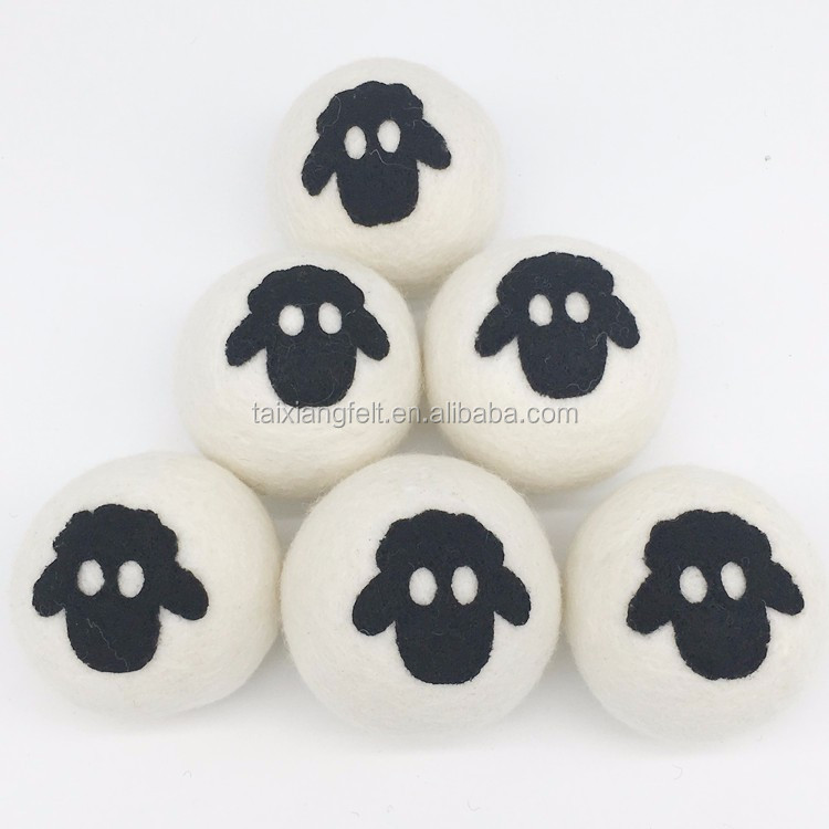 pure Organic colour 2018 Amazon trend new top seller New zealand wool products xl 7cm wool Dryer Balls 6 pack cotton bag factory