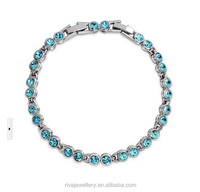 Silver Tone White Gold GP Aquamarine Synthetic Stone Ocean Blue Tennis Bracelet
