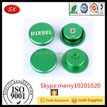 Customized precision blue/green anodized Aluminum universal fuel cap