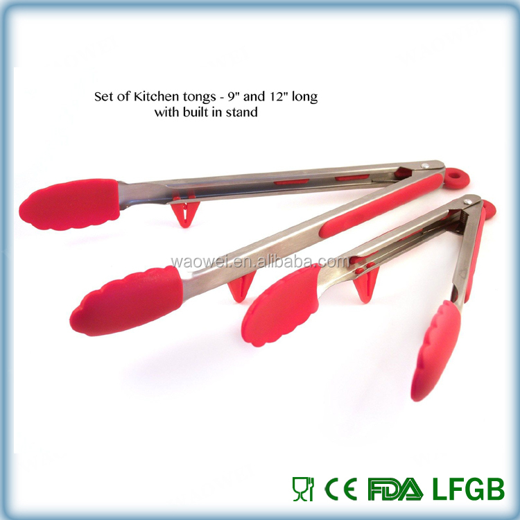 Kitchen Tongs and Cooking Utensils Red Silicone Stainless Steel food Tongs